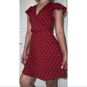Red Poke-a-Dot Wrap Dress